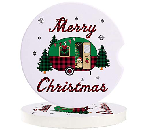 Car Coasters Absorbent Ceramic Stone for Cup Holder Set of 6, Christmas Theme RV Camper Pine Tree Auto Drink Coaster Car Accessories, Buffalo Plaid