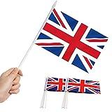Anley Bandera británica Union Jack Stick, Gran Bretaña Mini Bandera portátil de 5 x 8 Pulgadas (12 x 20 cm) con Poste sólido Blanco de 12'(30 cm) - Color Vivo y Resistente a la decoloración