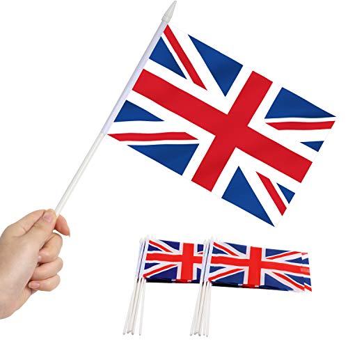 """Anley Bandera británica Union Jack Stick, Gran Bretaña Mini Bandera portátil de 5 x 8 Pulgadas (12 x 20 cm) con Poste sólido Blanco de 12""""(30 cm) - Color Vivo y Resistente a la decoloración"""