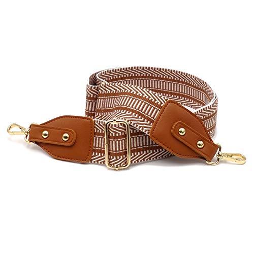 BENAVA Taschengurt Schultergurt für Taschen Braun Gold Verstellbar Breit mit Karo Muster