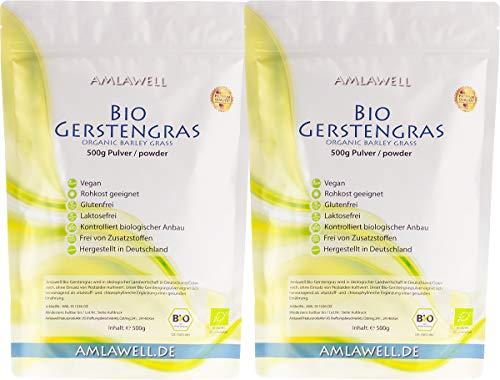 Amlawell Bio-Gerstengraspulver 1000g / in Deutschland angebaut/Rohkostqualität/zertifiziertes Gerstengras Pulver Bio - für Smoothie oder Diät Drink