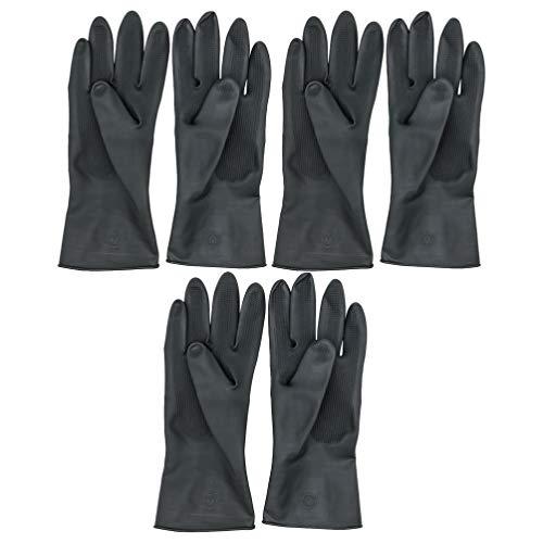 Minkissy 3 Paar Haarfärberhandschuhe Schwarze Gummihandschuhe Wiederverwendbare Puderfreie Latexhandschuhe für Frauen Männer Größe M