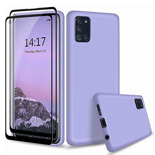 MUTOUREN Funda Samsung Galaxy A21S - Carcasa de TPU para teléfono móvil, con 2* Gratis [Vidrio Templado], Ultra Delgado Silicona Flexible Cover Protectora Gel Case Suave Bumper, Púrpura