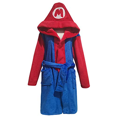 QSCVG Super Mario Cosplaaay Kostüm Flanell Cartoon Halloween Pyjamas Männer Und Frauen-Nachtkleid Cosplay Bademantel Red Blue-X-Large
