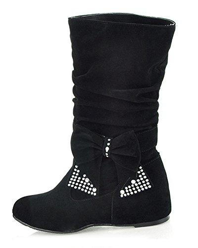 Minetom Damen Winter Warme Bowknotdekoration Stiefeletten Mit Strass Mode Schuhe Schwarz 38