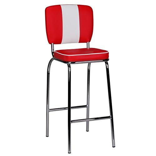 Wohnling Barhocker American Diner 50er Jahre Retro Barstuhl, Sitzfläche gepolstert mit Rücken-Lehne, Thekenstuhl mit Fußstütze, Sitzhöhe 76 cm, rot weiß