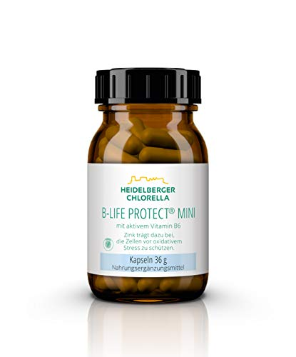 Heidelberger Chlorella – B-Life Protect mini Kapseln, mit aktivem Vitamin B6 (Pyridoxal-5-Phosphat), vegan, gute Bioverfügbarkeit, hergestellt in Deutschland, 36 g, 60 Kapseln