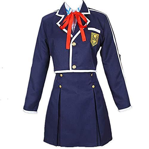 LJLis 4PCS / Set Disfraz Sword Art Online Sao Yuuki Asuna Cosplay JK Traje De Falda de Uniforme de Escuela Secundaria Japonesa con Accesorios,M