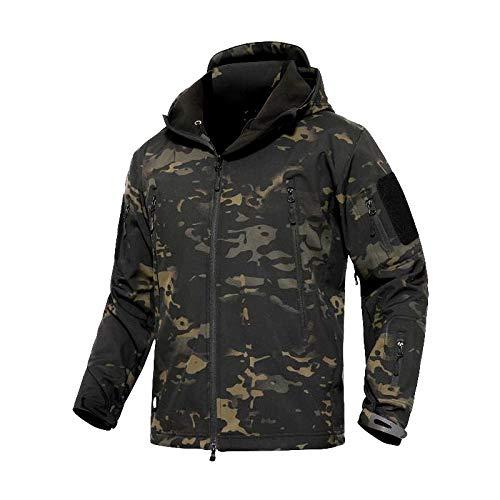LDHVF Taktisch Softshell Fleecejacke Camouflage Militär Hoodie Outdoor Wandern Camping Warm Innenfutter Winddicht Wasserdicht Mantel Jacken Skijacke Tarnung-7