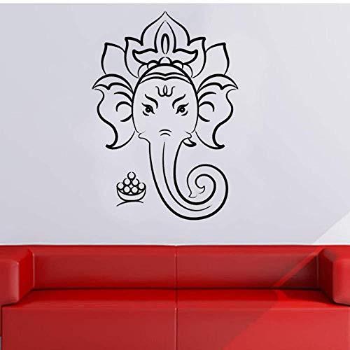 Adesivo Murale Testa Di Elefante Buddista Decorazione Domestica 43X29cm, Adesivo In Pvc Rimovibile In Vinile Per Camera Da Letto Dell'Asilo
