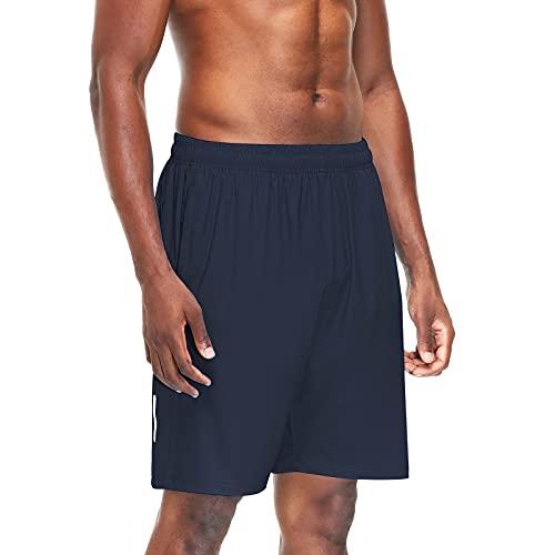 MingGann Shorts Deportivos para Hombre Transpirables,Bolsillo para Pantalones Cortos Deportivos para Hombre con Cremallera,Gym,Correr(Azul,EU-3XL/US-XXL)
