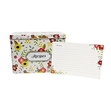 Light Metal Recipe Box Set With 100 Recipe Cards & 10 Blank Dividers   Holds Up To 200, 4x6 Cards   From Splendid Chef