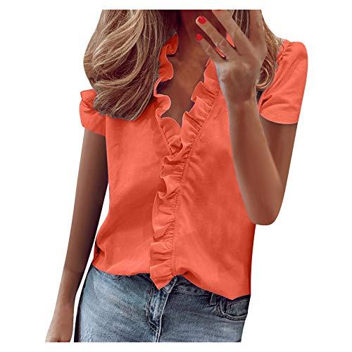 YANFANG Blusas de Mujer Elegantes,Camiseta Casual de Manga Corta con Encaje de Moda para Mujer Top de Color s贸lido con Cuello en V