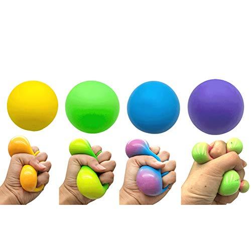 4 Piezas Bola Para Aliviar el Estrés, Juguete para Niños de Descompresión, Bola Exprimida Facial Divertida Bola Hinchable Bola de Alivio de Presión Suave, color aleatorio