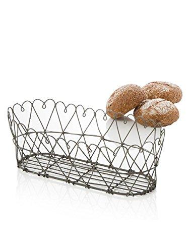 Corbeille à pain ovale en fil de fer 28 x 13 x 9 cm Variante unica