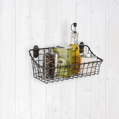 Spectrum Diversified 86076 Vintage Cabinet & Wall Mounted, Rustic Farmhouse Wall Décor & Organization, Small Wire Basket, Decorative Storage, Industrial Gray