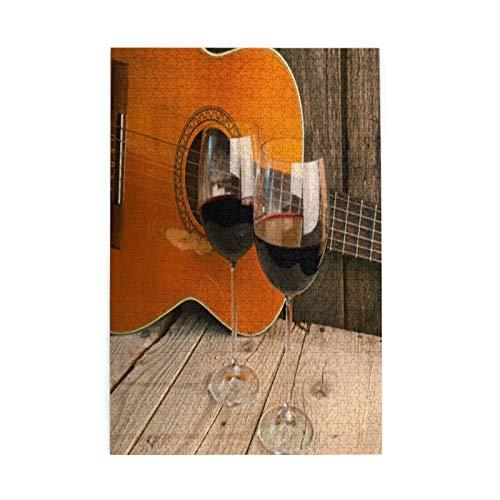 Decoración romántica para todas las edades, guitarra y vino sobre una mesa de madera, rompecabezas como regalo para graduación 1000 piezas grandes