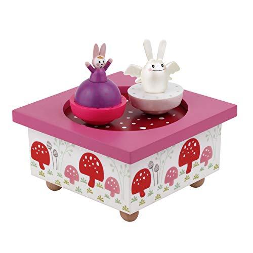 TROUSSELIER - Ange Lapin & Maman Lapin - Boîte à Musique Dancing - Idéal Cadeau de Naissance - 2 Figurines Amovibles - Fonctionnement Simple - Musique Nocturne de Chopin - Colori Rose