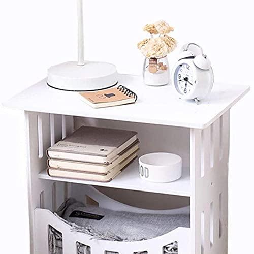 Mesa auxiliar del sofá, Mesa de mueble de cabecera Mesa de mesita de noche blanca con estantes de almacenamiento Estilo compacto Tamaño del estante de 3 capas (44 * 30 * 41cm) Mesa , Mesa auxiliar par