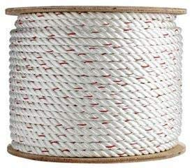 SGT KNOTS Poly Dacron Rope (3/4 inch) Twisted 3 Strand Line with Polyolefin Core - Moisture, UV, Chemical, Abrasion & Weather Resistant - Marine, Commercial, Arborist, DIY (50 feet)