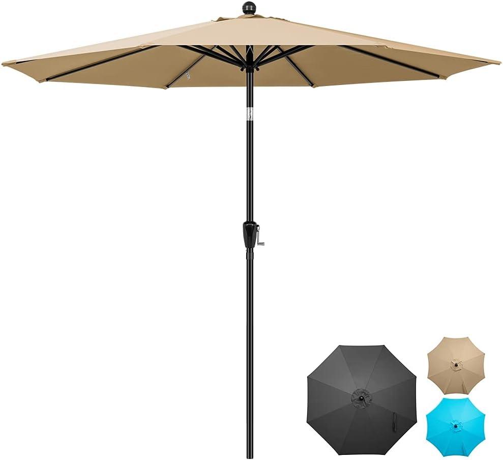 COOS BAY 9' Patio Umbrella Outdoor Market Table Umbrella with Push Button Tilt and Crank for Garden, Deck, Backyard, Pool and Beach, 8 Ribs (Khaki)
