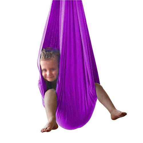 AGGF Columpio de Terapia Interior para niños y Adolescentes uggle Columpio sensorial de Terapia de Cuddle Pod con Hardware Incluido (hasta 400 Libras) (Color: Violeta Claro, tamaño: 100x280cm / 3