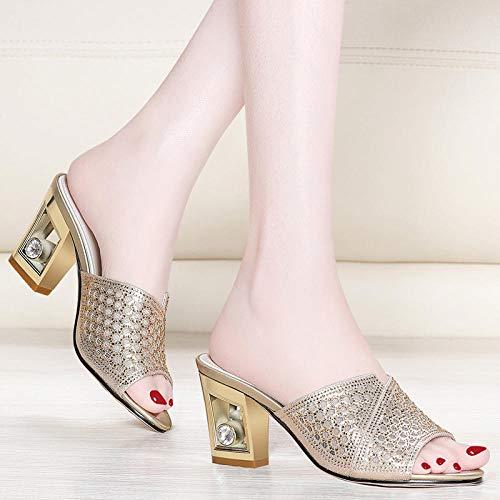 Nieuwe dames sandalen Koreaanse versie Vrije tijd Comfortabel Draag Dames slippers@39_Goud