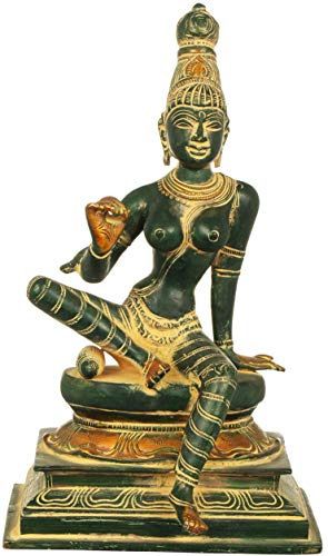 Exotic India Seated Uma - Brass Statue - Color Green Gold Color