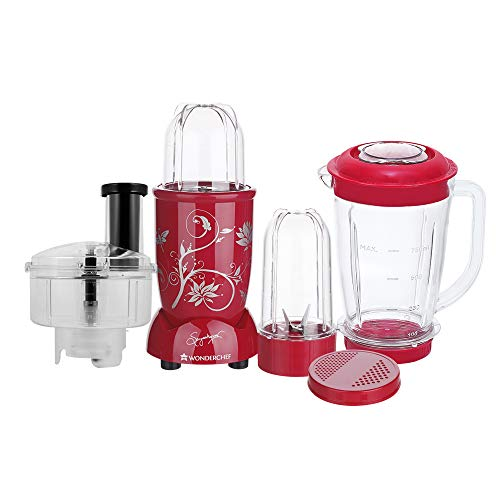 Nutri-Blend Compact Food Processor, 22000 RPM Mixer-Grinder, Blender, Chopper, Juicer, Food Processor, SS Blades, 4 Unbreakable Jars, 2 Years Warranty, 400 W-Red, Includes Exclusive Recipe Book By Chef Sanjeev Kapoor