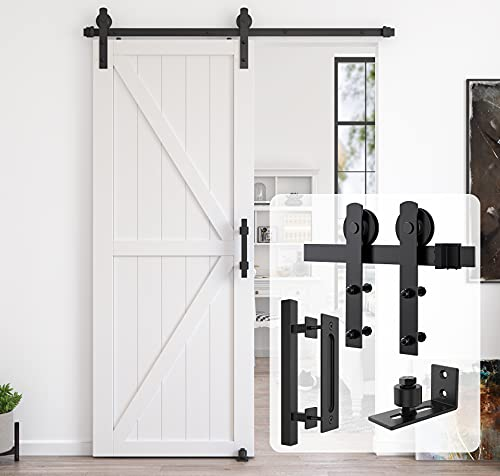Homlux 6ft Heavy Duty Sturdy Sliding Barn Door Hardware Kit,Single Door-Smoothly and Quietly, Easy to Install and Reusable - Fit 1 3/8-1 3/4