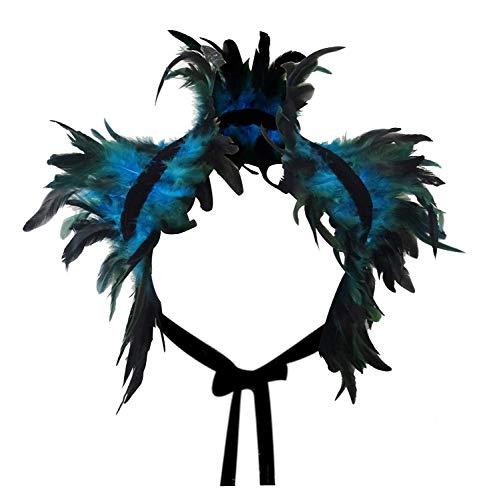 L'VOW Capa de plumas negras naturales para el hombro, alas, cuello gtico, disfraz para mujer (azul)