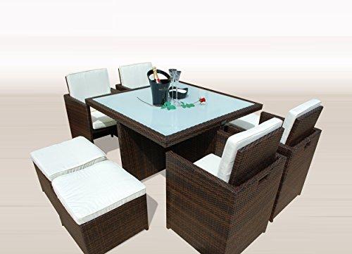 Ragnarök-Möbeldesign PolyRattan - DEUTSCHE Marke - EIGNENE Produktion - 8 Jahre GARANTIE auf UV-Beständigkeit Gartenmöbel Essgruppe Tisch + 4 Stühle & 4 Hocker 12 Polster Braun