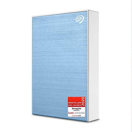 Seagate One Touch, tragbare externe Festplatte 5 TB, PC, Notebook & Mac, USB 3.0, Hellblau, inkl. 2 Jahre Rescue Service, Modellnr.: STKC5000402