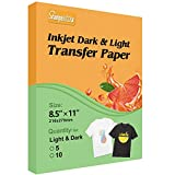 Stampcolour Inkjet Printable T-Shirt Iron-On Heat Transfer Paper for Light and Dark Fabrics,Pack of 10 Sheets Light+10 Sheets Dark Transfers Paper 8.5X11 Inches,Compatible with Inkjet Printer.