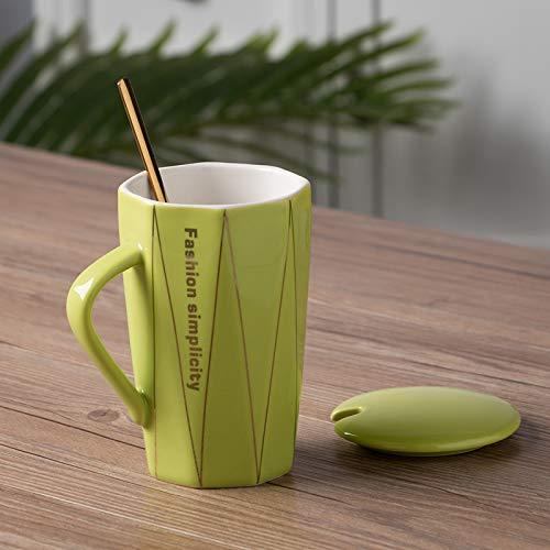 Xiaobing Cuchara de cerámica Simple y Creativa con Tapa Taza de café de línea de Diamante Taza de Oficina para el hogar -C351-301-400ml