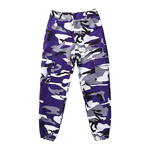Frecoccialo Pantalones Cargo para Mujer Camuflaje Pantalones Casuales Militares de Combate con Bolsillos Laterales para Casual Talla Grande (Morado, S)