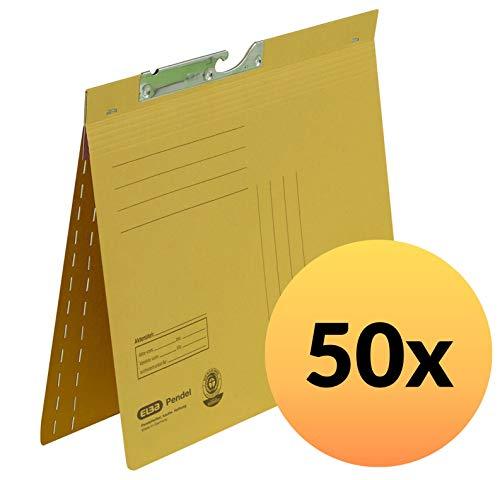 ELBA 100560101 Pendelhefter 50er Karton kaufmännische Heftung und Schlitzstanzung aus 320 g/m² Manila-Karton gelb