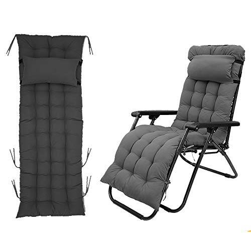 Auflagen für Gartenliegen, Sun Lounger Cushions Tragbare Garten Dick Gepolstertes, Liegestuhl Polster Kissen für Reisen, Urlaub, Innen, Außen (Grau)