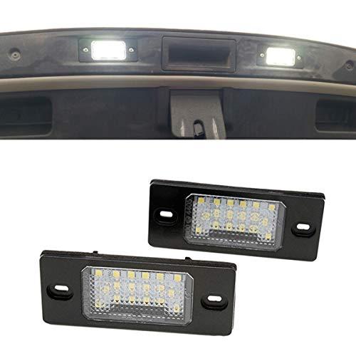 Yuguiyun LED-kentekenplaatverlichting, 18 LED's, SMD, foutvrij, Xenon, wit, voor Cayenne Touareg Tiguan Golf 5 Passat B5 (2 stuks)