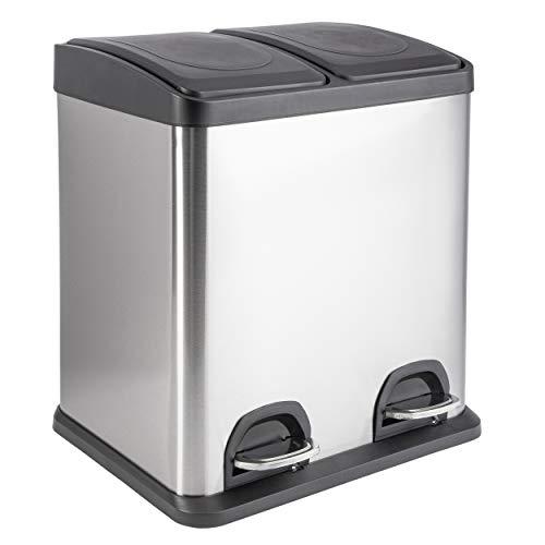 ONVAYA® Doppel Tretmülleimer Edelstahl | 30L Mülltrennsystem für die Küche | Duo Abfalleimer in Silber & schwarz | Müllbehälter 2X 15L