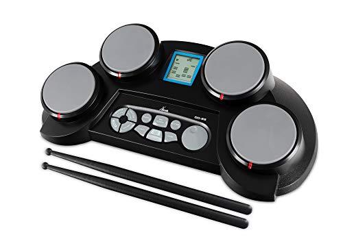 XDrum DD-65 E-Drum - Portables elektronisches Schlagzeug mit 4 anschlagdynamischen Drum-Pads - 70 Sounds, Lernmodus und Spielfunktionen - Netzteil oder Batteriebetrieb - Schwarz