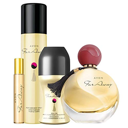Avon Far Away Duft-Set 4tlg. Eau de Parfum Spray/Deospray/Deoroller/Taschenspray pudrig/Vanille/Moschus
