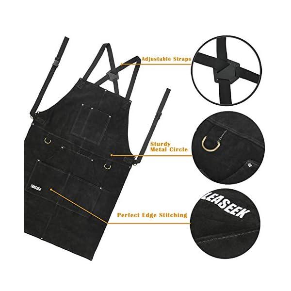 LeaSeek Heavy Duty Leather Welding Apron 3
