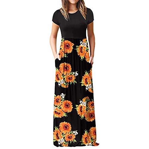 BURFLY Damen Rundhalsausschnitt Kurzarm-Nähte Kleid Sommer böhmisches dünnes Strandkleid Mehrfarbig Multi-Code