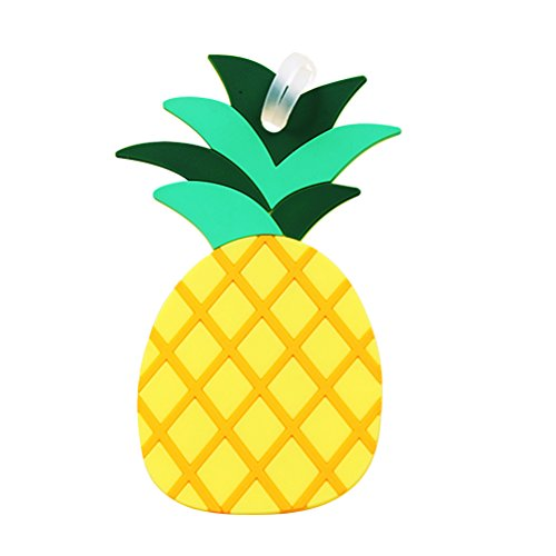 LUOEM Fruits Luggage Tags Pineapple ID Labels Tag Baggage Suitcase Backpack Lables for Baggage Suitcase (Yellow)