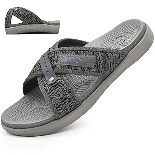 Sandalias para Hombre Playa Plano Respirable Cruzada Grueso Soporte Sandalias de Diapositivas Suave Antideslizante verano zapatillas Gris Talla 45