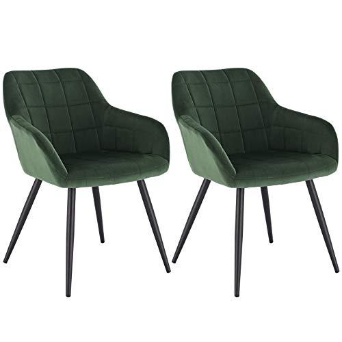 WOLTU® Esszimmerstühle BH93dgn-2 2er Set Küchenstuhl Polsterstuhl Wohnzimmerstuhl Sessel mit Armlehne, Sitzfläche aus Samt, Metallbeine, Dunkelgrün
