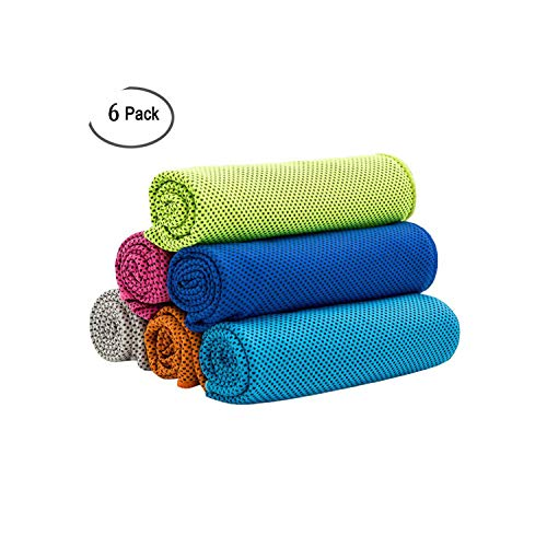 Forever Long Accesorios Deportivos 6 Piezas Toalla de enfriamiento Toalla de enfriamiento súper Absorbente para Deportes Fitness Yoga Viaje Camping