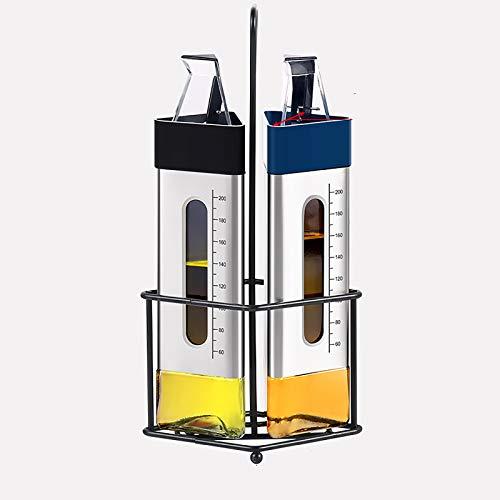 ZTSS Olivenöl- und Essig-Dispenser-Flasche für Küche, 260ml Klarglas-Dreiecke-Olecranon-Öl-Flaschenausgießer-Behälter, Gewürzflasche für Küche und BBQ,Two Packs