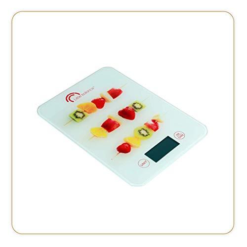 LITTLE BALANCE 8342 Slim - Balance de cuisine électronique - 5 kg/1 g - Plateau en verre trempé - Design extra-plat - Décor Brochettes de Fruits